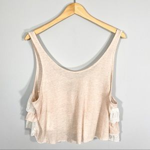 FREE PEOPLE blush linen lace crop top tank Sz L